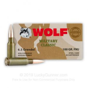 6.5 Grendel - 100 gr FMJ - Wolf Military Classic - 500 Rounds MC6.5GrenFMJ