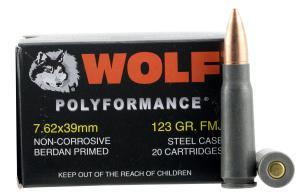 Wolf Performance Ammo PolyFormance FMJ Rifle Ammo 7.62 X 39 123GR 645611762321