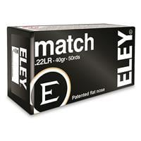 Eley Match, .22 Long Rifle, Lead Flat Nose, 40 Grain, 50 Rounds 650911011000