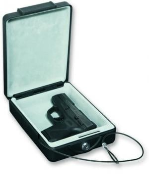 Bulldog Cases 8.7x6x2.5 Steel Pistol Strong Box w/ Key Lock, Security Cable - Black BD1100 BD1100