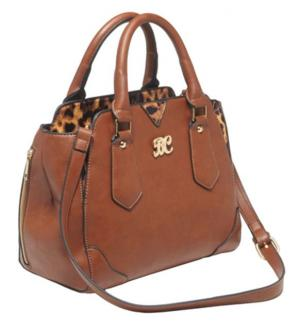 Bulldog Cases Satchel Series Concealed Carry Purse Chestnut With Leopard Trim BDP024
