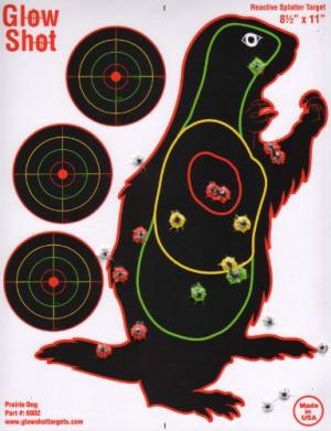 """25 Pack - Prairie Dog Target 8 1/2"""" by 11"""" - Reactive Splatter Targets - GlowShot - Multi Color - See Your Hits Instantly - Gun and Rifle Targets 689466475142"""