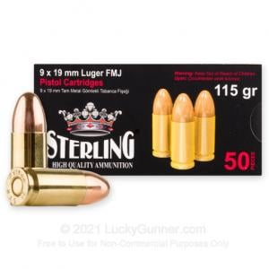 9mm - 115 Grain FMJ - Sterling - 50 Rounds 698779952419