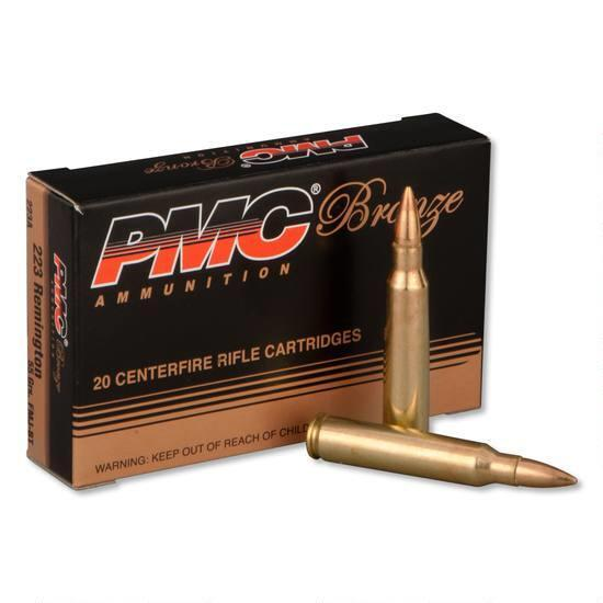 PMC Ammunition Bronze Full Metal Jacket Boat Tail 55 Grain Brass .223 Rem 20Rds 223A