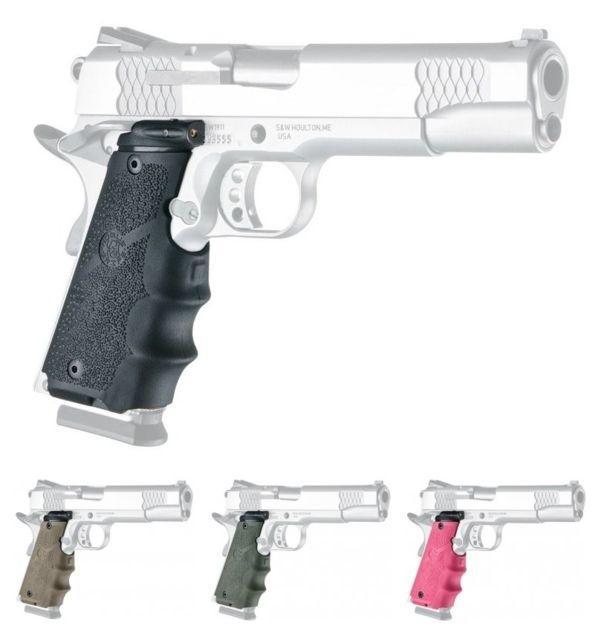 Hogue Laser Enhanced Grip - Govt. Model Rubber Grip with Finger Grooves Black 45080