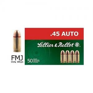 Sellier and Bellot FMJ 230 Grain Brass .45 ACP 50Rds 754908500253