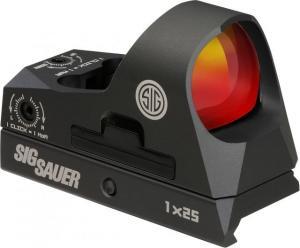 Sig Sauer Romeo3 Miniature 1x25mm Reflex Sight w/ Riser, 3 MOA Red Dot Reticle, Graphite SOR31002 SOR31002