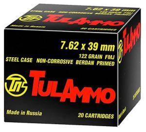 Tula Centerfire Rifle 7.62X39mm FMJ 122gr 100rd UL076210
