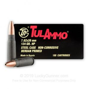 7.62x39mm - 124 Grain HP - Tula - 100 Rounds 814950010121