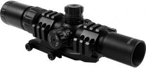 AIM Sports Inc Recon Series 1.5-4x30 Tri Illuminated CQB Scope w/ Locking Turrets/Arrow Reticle JTCR1 JTCR1