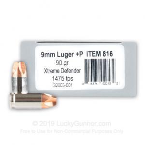 9mm - +P 90 Grain Xtreme Defender - Underwood - 20 Rounds 816