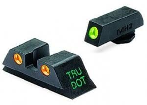 Meprolight Tru-Dot Night Sight Set for Glock 9mm, .357 Sig, .40 S&W, & .45 GAP, Green Front/Orange Rear, ML10224O ML10224O