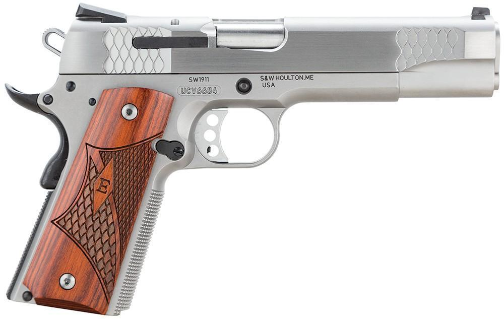 "S&W 1911 eSeries 45 ACP 5"" Laminate Wood Grip, Stainless Finish, 8 Rd - $732 (make an offer) (Free S/H on Firearms) 