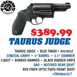 "Taurus Judge .410/.45LC 3"" barrel 5 Rnds Blue Finish ... - photo#33"