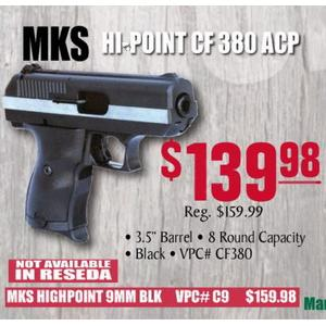 "MKS Hi-Point CF  380 ACP 3 5"" barrel 8 Rnds - $139 98 Sale Effective March  30th till April 20 at Turner's"