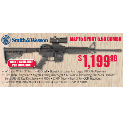 Smith Wesson Mp 15 Sport 556 Combo With Burris Ar 132 Red Dot