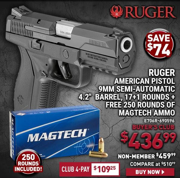 Ruger American Pistol, Semi-Automatic, 9mm, 4 2